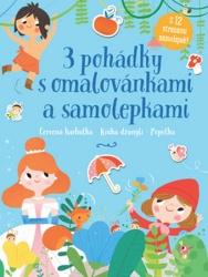 3 pohádky s omalovánkami a samolepkami - Červená karkulka, Kniha džunglí, Popelka